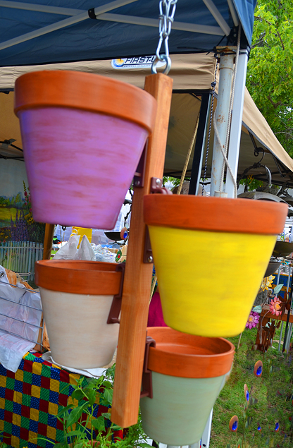 A picture of the hanging pots we saw at the 2013 Blanco Lavender Festival.