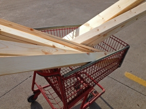 Picking up lumber from Lowes to make our hill country headboard