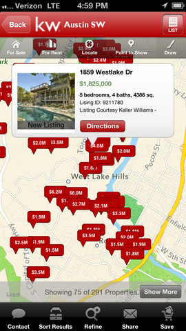A View Of The Local Search Feature For The Keller Williams Mobile App