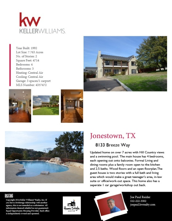 8133 Breeze Way Jonestown Texas Brochure