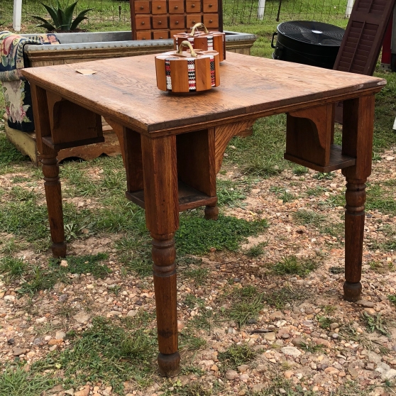 Round Top Antique Game Table